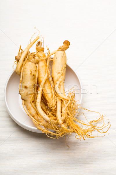 Fraîches ginseng blanche bol alimentaire médecine Photo stock © leungchopan