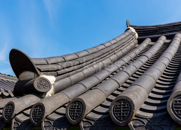 Dachu tradycyjny architektury drewna budowy ściany Zdjęcia stock © leungchopan