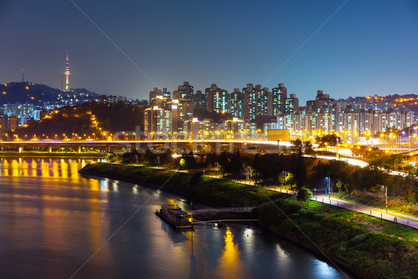 Seoul urban city at night Stock photo © leungchopan