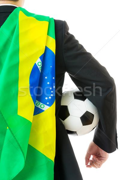 Widok z tyłu biznesmen piłka Brazylia banderą działalności Zdjęcia stock © leungchopan