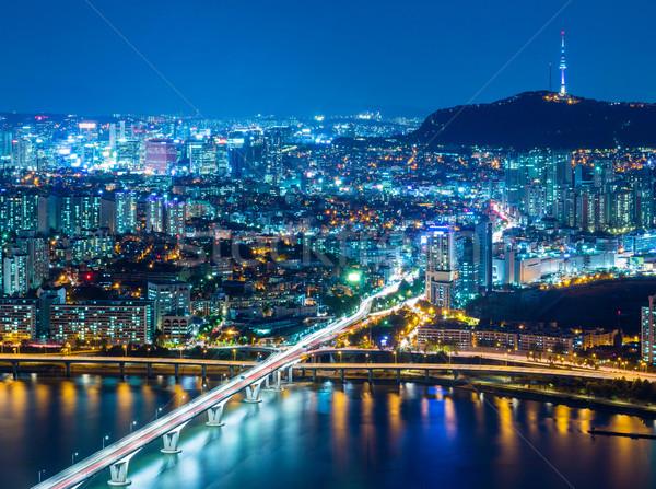 Seul Güney Kore ufuk çizgisi gece iş şehir Stok fotoğraf © leungchopan