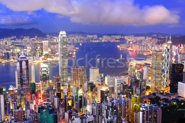 Hong-Kong central district Skyline port vue Photo stock © leungchopan