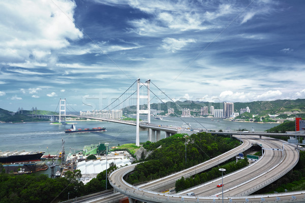 моста небе воды здании город свет Сток-фото © leungchopan