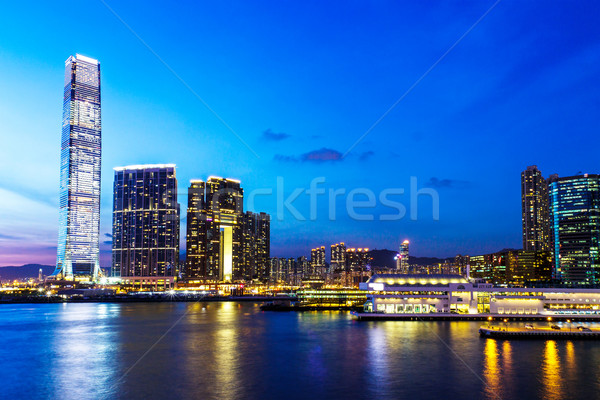Kowloon skyline at night Stock photo © leungchopan