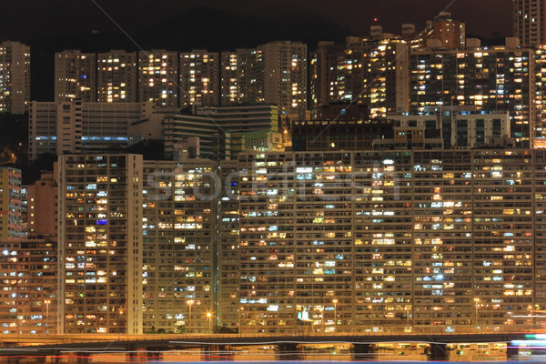 Hong Kong cityscape at night Stock photo © leungchopan