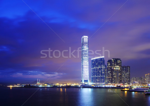 Foto stock: Linha · do · horizonte · Hong · Kong · negócio · escritório · edifício · cidade