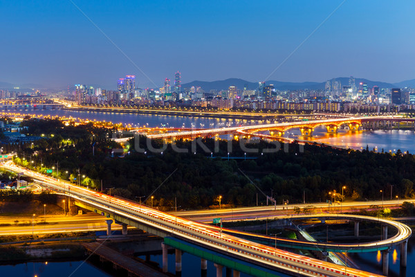 Seúl nocturna de la ciudad agua carretera ciudad mar Foto stock © leungchopan