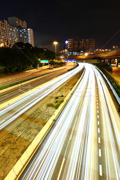 light trail in city at night Stock photo © leungchopan