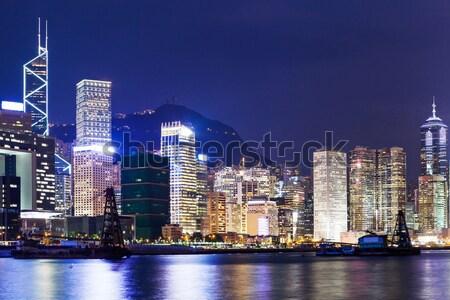 Kalay Hong Kong gece şehir ev ufuk çizgisi Stok fotoğraf © leungchopan