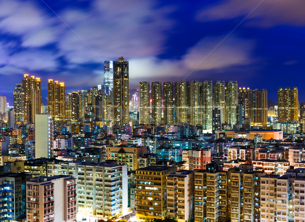 Residential district in Hong Kong at night Stock photo © leungchopan