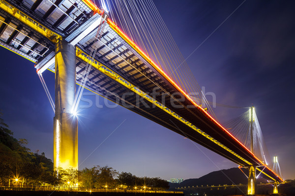 Ting Kau suspension bridge in Hong Kong at night Stock photo © leungchopan
