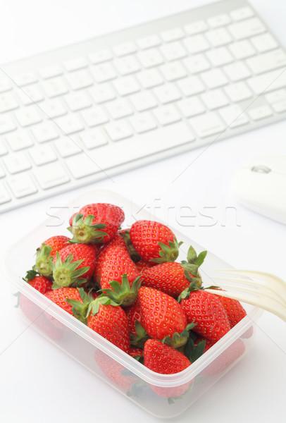 Stockfoto: Gezonde · lunch · vak · werken · bureau · laptop