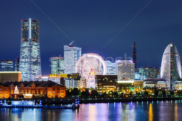 Иокогама Skyline ночь бизнеса здании красный Сток-фото © leungchopan