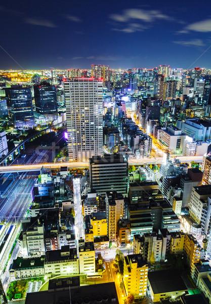 Kentsel şehir Tokyo gece binalar ışıklar Stok fotoğraf © leungchopan