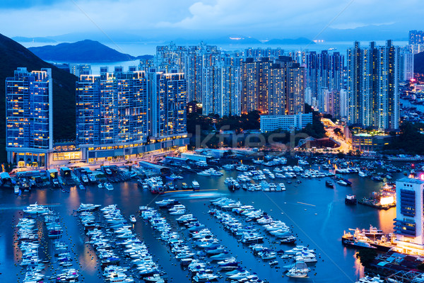 Aberdeen in Hong Kong at night Stock photo © leungchopan