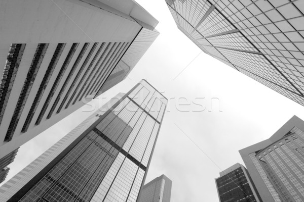 High business buildings, black and white Stock photo © leungchopan