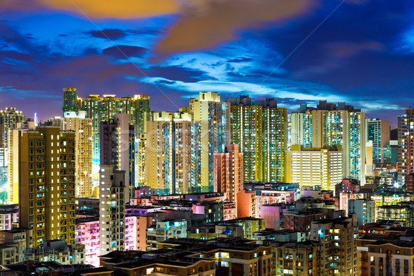 Kowloon district in Hong Kong at night Stock photo © leungchopan