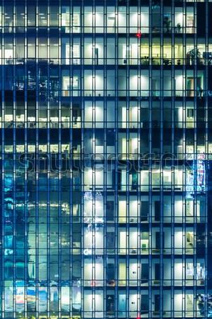 Edifício moderno noite negócio escritório edifício luz Foto stock © leungchopan