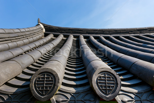 Tradycyjny architektury dachu okap trawy drewna Zdjęcia stock © leungchopan