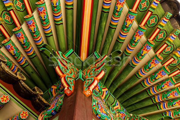 Tradizionale pittura erba legno blu pattern Foto d'archivio © leungchopan