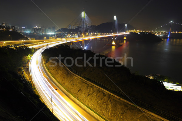 highway and Ting Kau bridge at night Stock photo © leungchopan