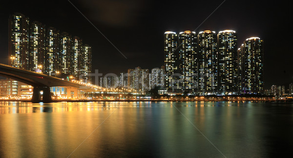 Business Towers and Residential Apartment Buildings in Hong Kong at night Stock photo © leungchopan
