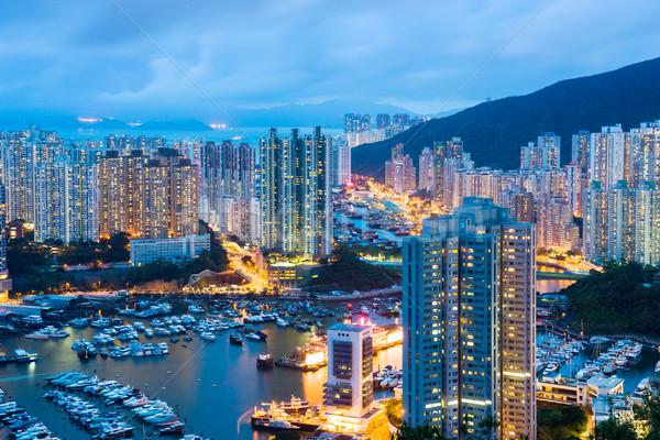 Schronisko Hongkong noc miasta wygaśnięcia krajobraz Zdjęcia stock © leungchopan