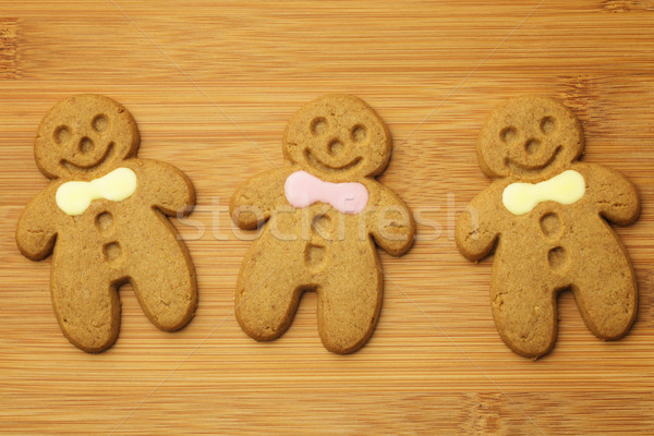 Gingerbread man cookie bois alimentaire homme fond Photo stock © leungchopan