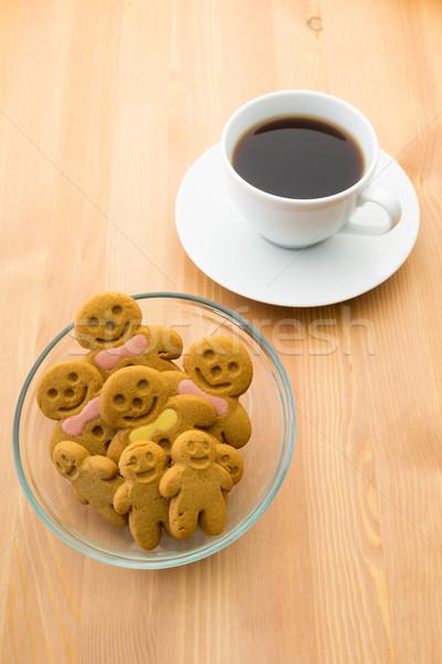 Gingerbread man café alimentaire sourire gâteau pain Photo stock © leungchopan