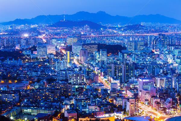 Seul cityscape noite paisagem edifícios urbano Foto stock © leungchopan