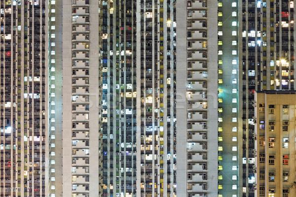 Compact gebouw Hong Kong business licht venster Stockfoto © leungchopan
