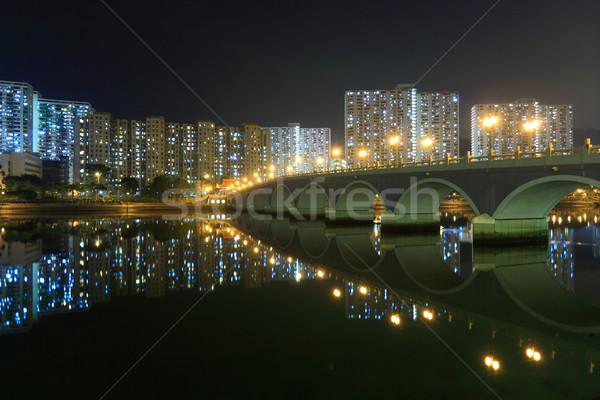 Stok fotoğraf: Köprü · binalar · Hong · Kong · gece · gökyüzü · şehir
