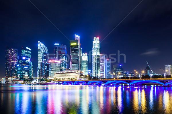 Stok fotoğraf: Singapur · gece · Bina · şehir · gün · batımı · seyahat