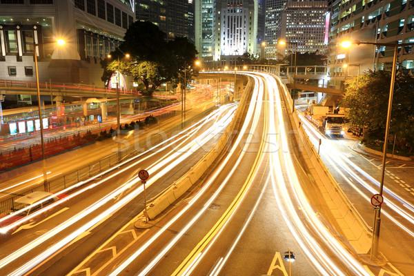 Foto stock: Hong · Kong · noche · oficina · ciudad · resumen · luz