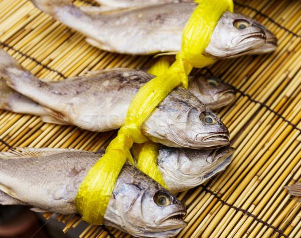 Aszalt sózott hal elad fa tenger Stock fotó © leungchopan