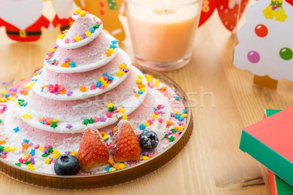 Christmas cake and decoration Stock photo © leungchopan