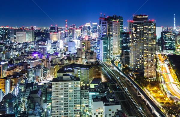 Tokio nocturna de la ciudad cielo oficina árbol edificio Foto stock © leungchopan