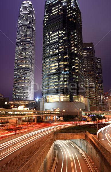 Hongkong éjszaka autó fény homály út Stock fotó © leungchopan