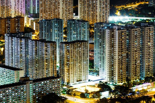 Nyilvános lakásügy Hongkong otthon sziluett Stock fotó © leungchopan