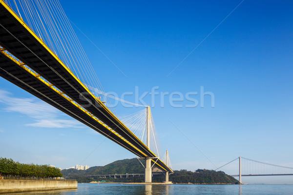 Puente colgante negocios edificio construcción paisaje puente Foto stock © leungchopan