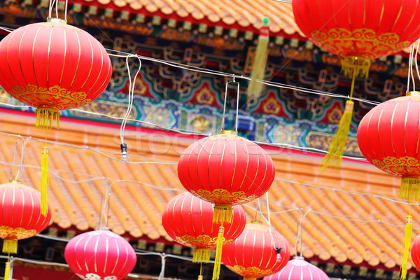 красный фонарь китайский храма дизайна путешествия Сток-фото © leungchopan