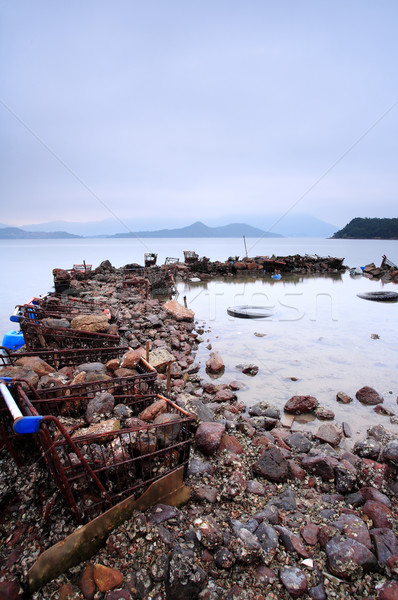 some wasted stuffs at the coastline Stock photo © leungchopan