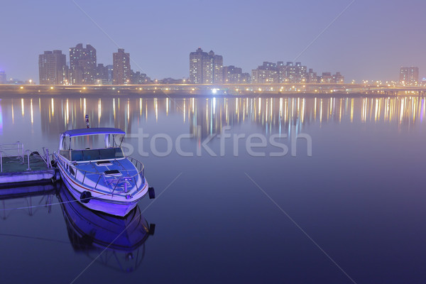 Taipei pier with city at night Stock photo © leungchopan
