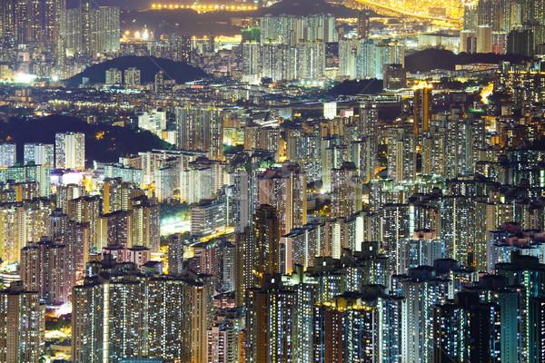 Obfity Cityscape noc działalności budynku panoramę Zdjęcia stock © leungchopan