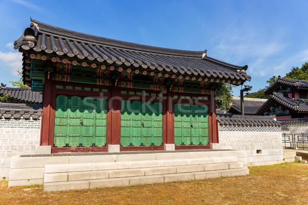 Tradicional edificio madera diseno azul castillo Foto stock © leungchopan