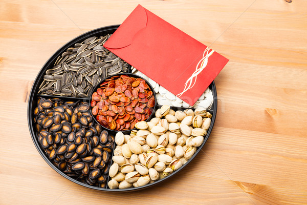 Assorted Chinese snack tray and red pocket for lunar new year Stock photo © leungchopan