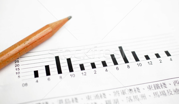 Graphique à barres crayon bureau papier fond bleu Photo stock © leungchopan
