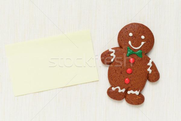 Gingerbread man memorando papel comida festa crianças Foto stock © leungchopan