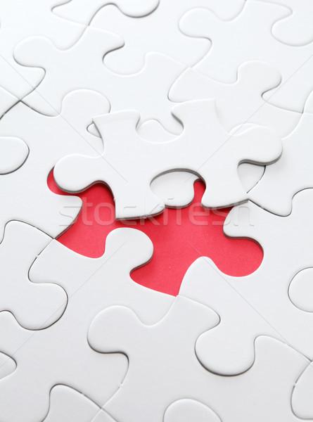 パズル 行方不明 平面 赤 目標 一緒に ストックフォト © leungchopan