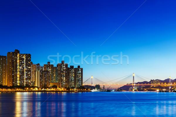 Stok fotoğraf: Yerleşim · Bina · Hong · Kong · gece · su · ev